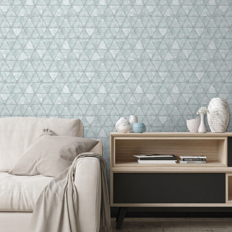Muriva Landon Geometric Teal/Grey Wallpaper - L61709