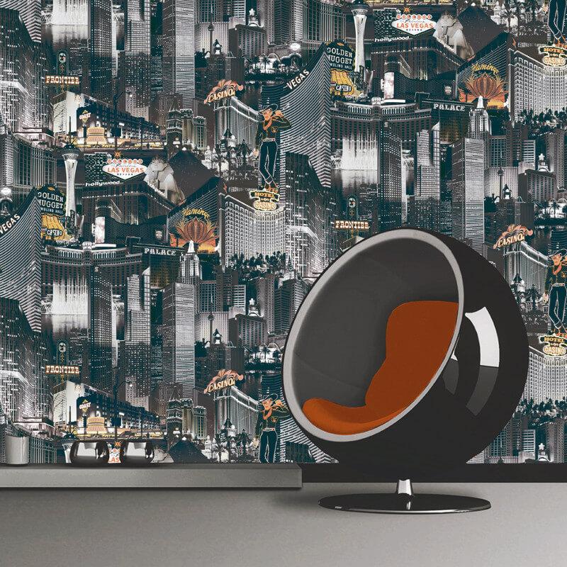 Muriva Las Vegas Black, White & Orange Wallpaper - 102510