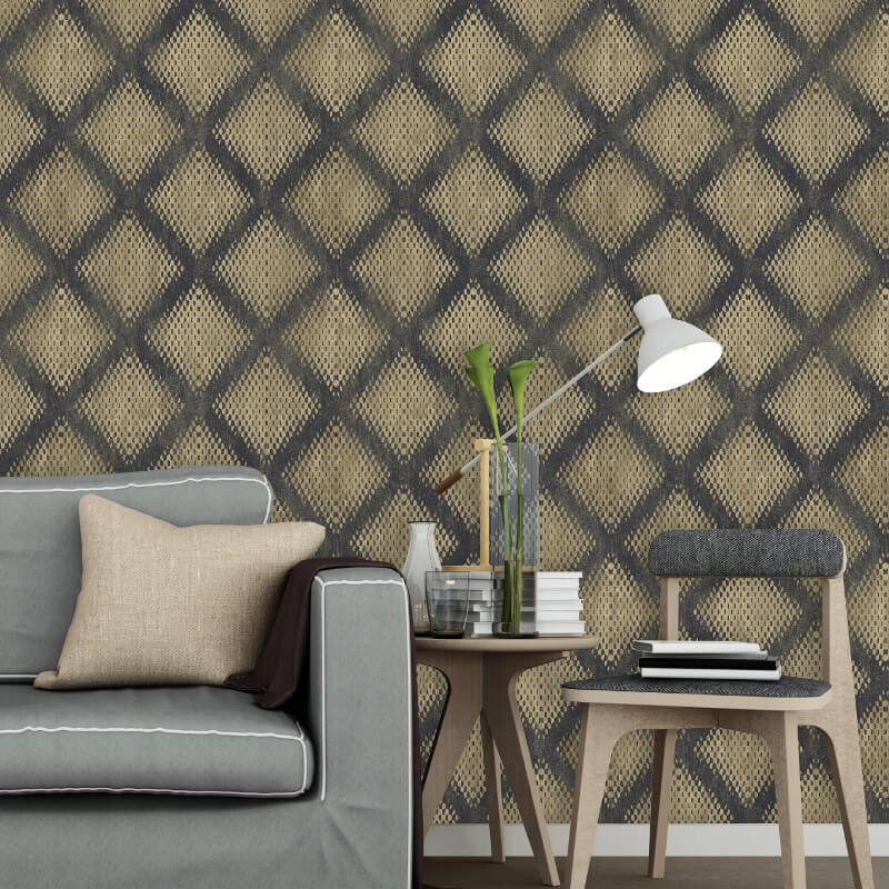 Muriva Lavelle Geo Black/Gold Foil Metallic Wallpaper - L60002