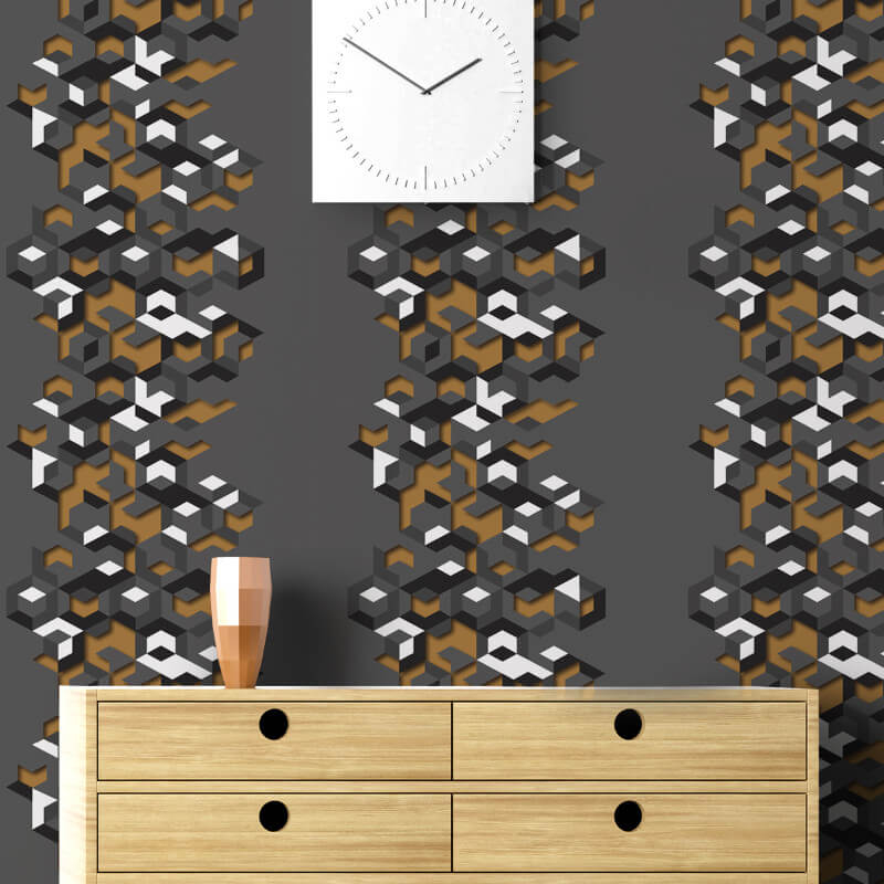 Muriva Lennox Geometric Charcoal/Gold Wallpaper - L57702