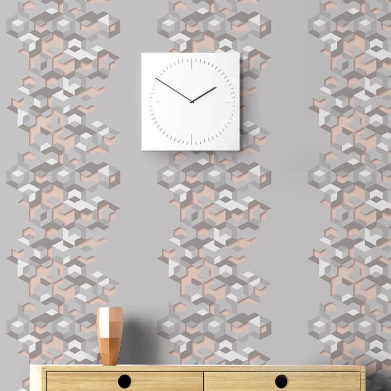 Muriva Lennox Geometric Grey/Pink Wallpaper - L57703