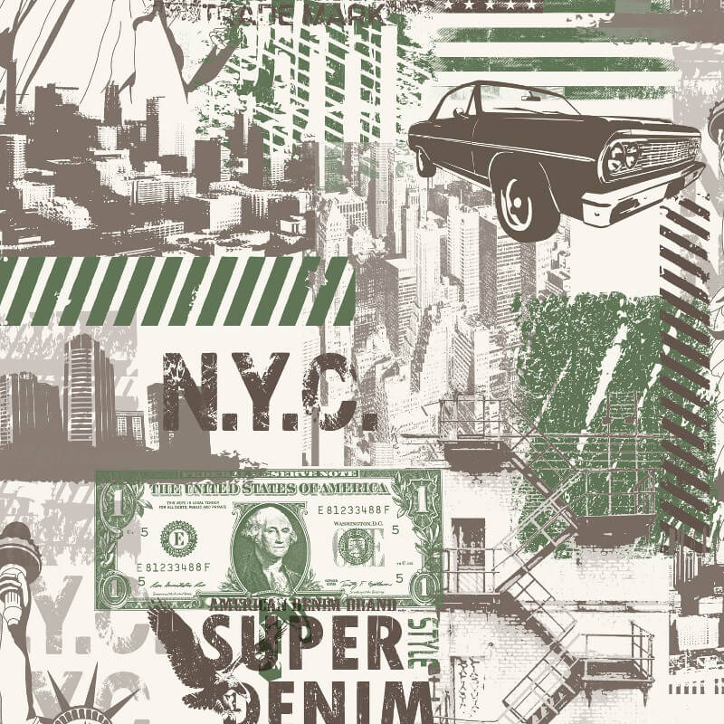 Muriva Liberty Green Wallpaper - L32404