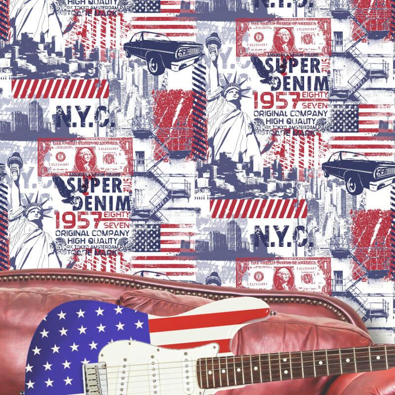 Muriva Liberty Red/White/Blue Wallpaper - L32401