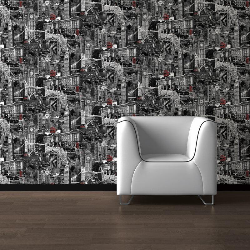 Muriva London City Black, White & Red Wallpaper - 102501