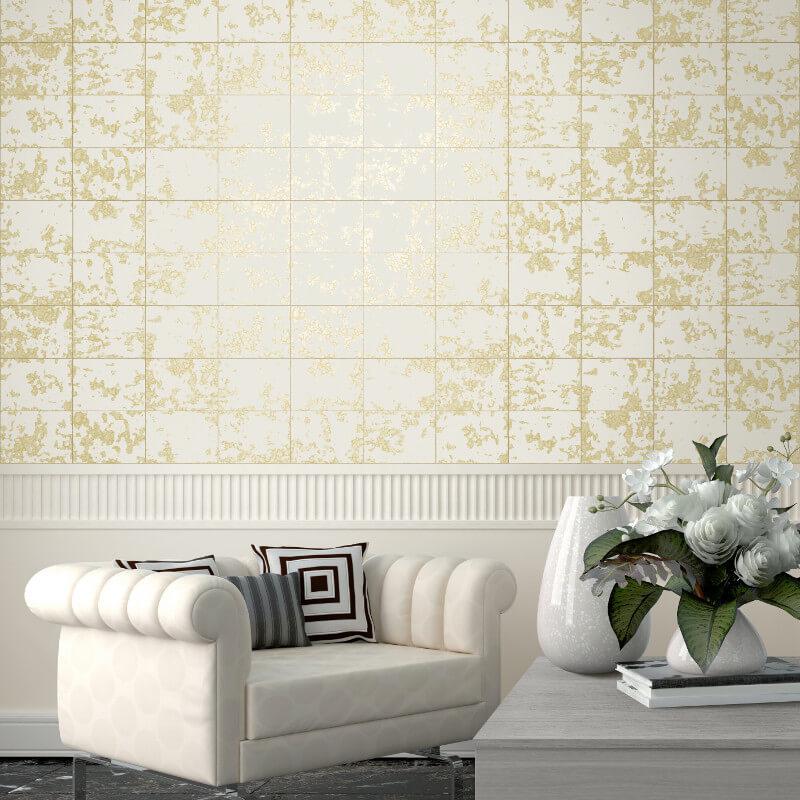 Muriva Loran Tile Pattern Gold Foil Metallic Wallpaper - L62600