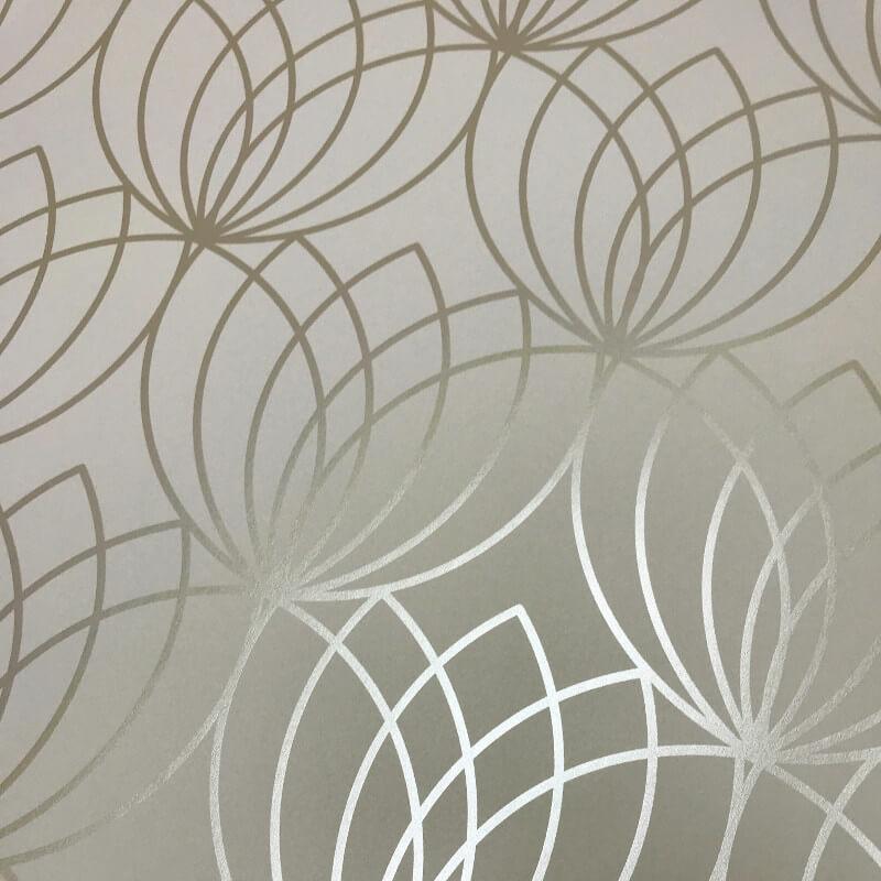 Muriva Lotus Geometric Gold Metallic Wallpaper - 148502
