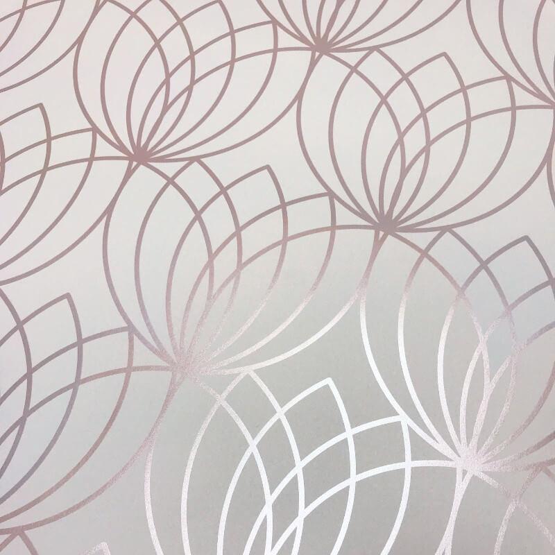 Muriva Lotus Geometric Rose Gold Metallic Wallpaper - 148503