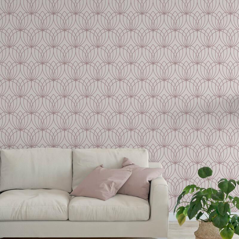 Muriva Lotus Geometric Rose Gold Metallic Wallpaper