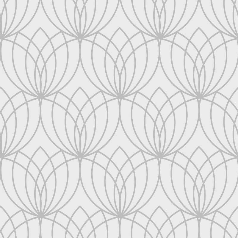 Muriva Lotus Geometric Silver Metallic Wallpaper - 148501