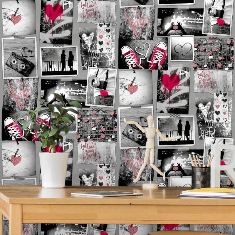 Muriva Love Rocks Red Glitter Wallpaper - A10303