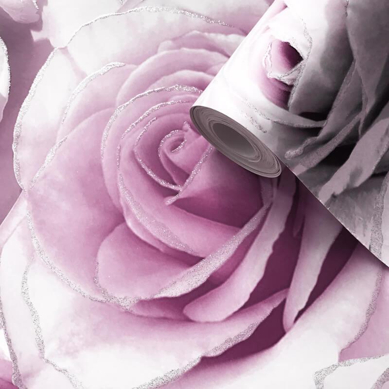 Muriva Madison Rose Floral Amethyst Glitter Wallpaper 139522