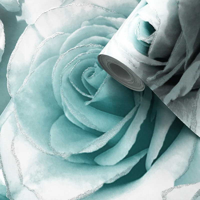Muriva Madison Rose Floral Aqua Glitter Wallpaper 139523