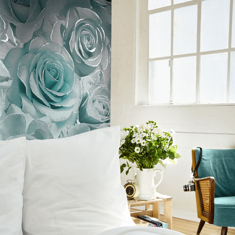Muriva Madison Rose Floral Aqua Glitter Wallpaper - 139523