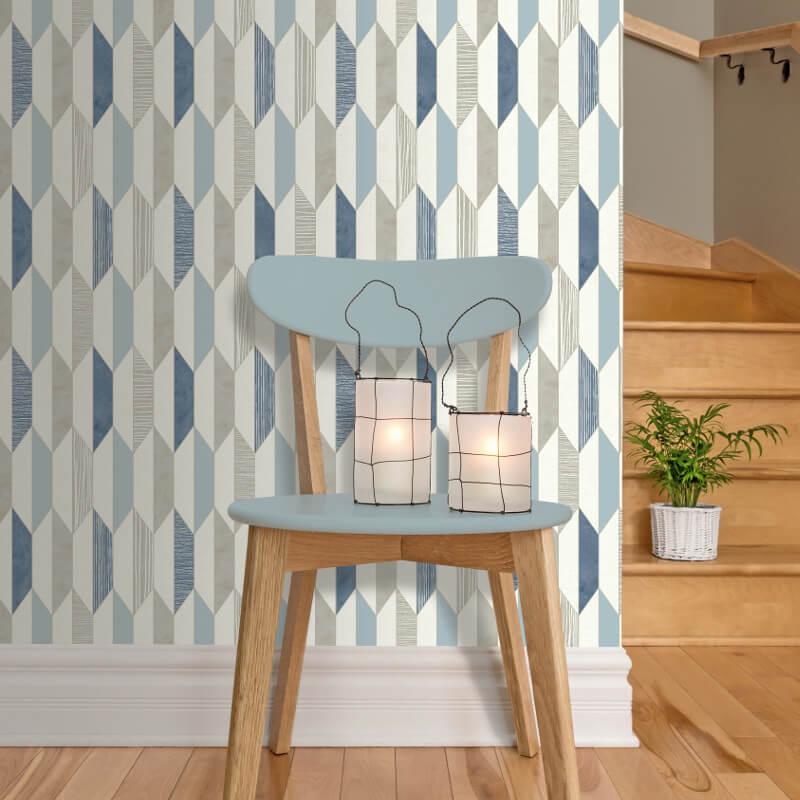 Muriva Marcus Geo Blue Wallpaper - J205-01