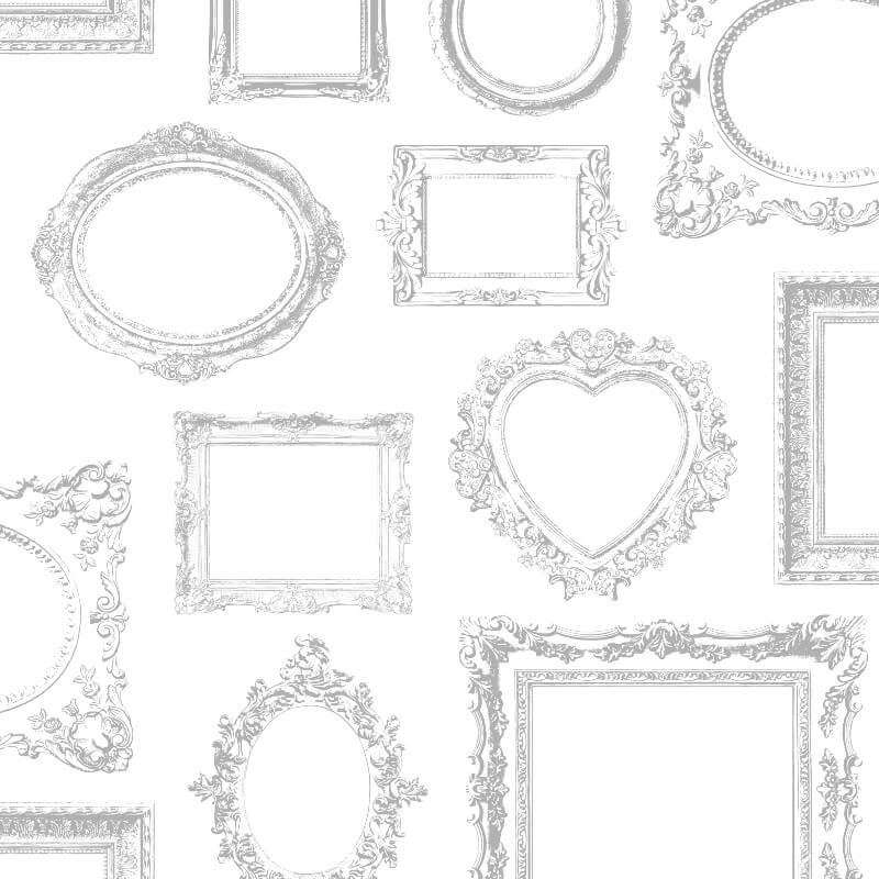 Muriva Metallic Frames Wallpaper in Silver - 575219