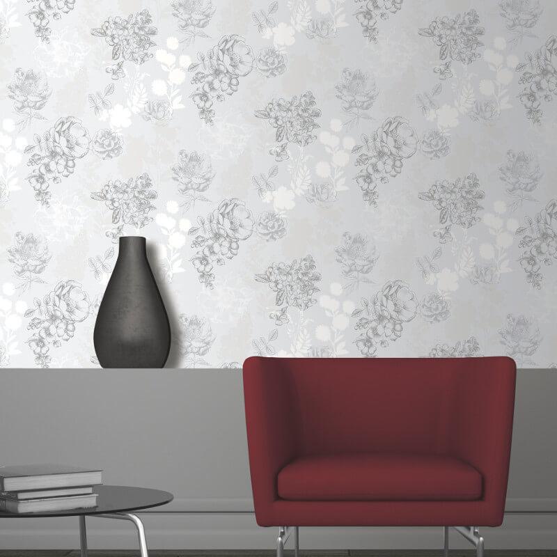 Muriva Mila Floral Silver Wallpaper - 140502