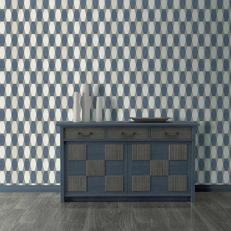 Muriva Nerva Geo Blue Glitter Wallpaper - L203-01