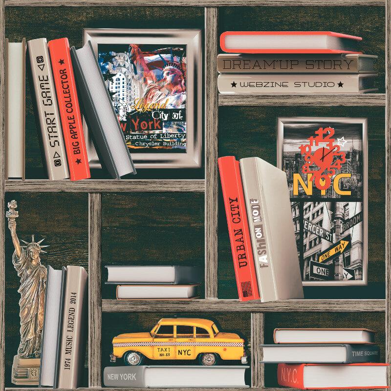 Muriva NYC Bookcase Wallpaper in Multi-Coloured - 577008