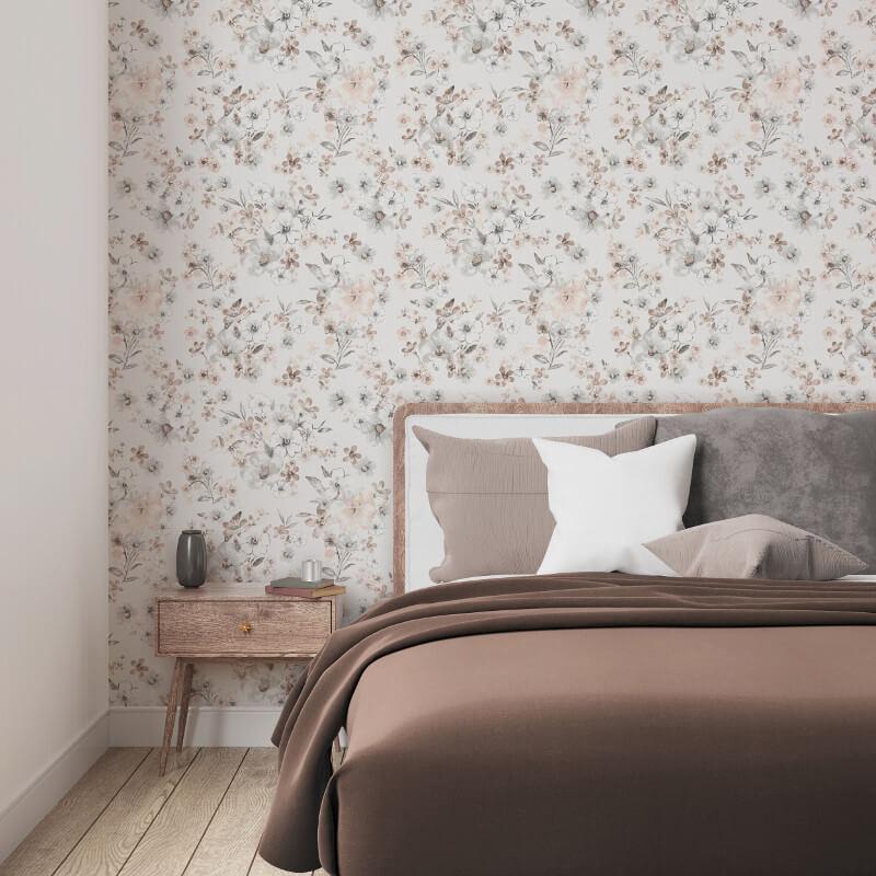 Muriva Olivia Floral Coral Wallpaper - 146503