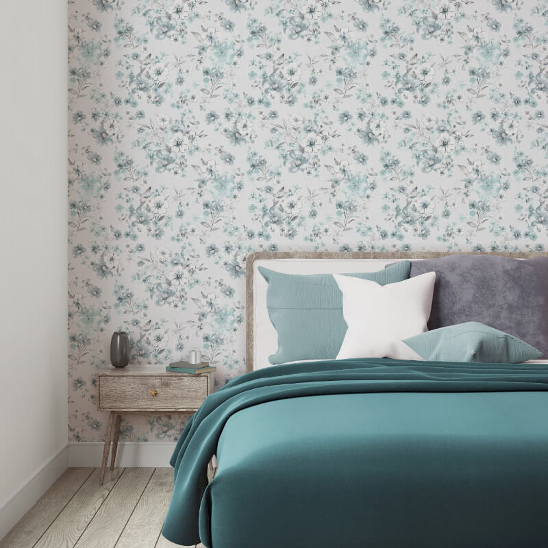 Muriva Olivia Floral Turquoise Wallpaper - 146502