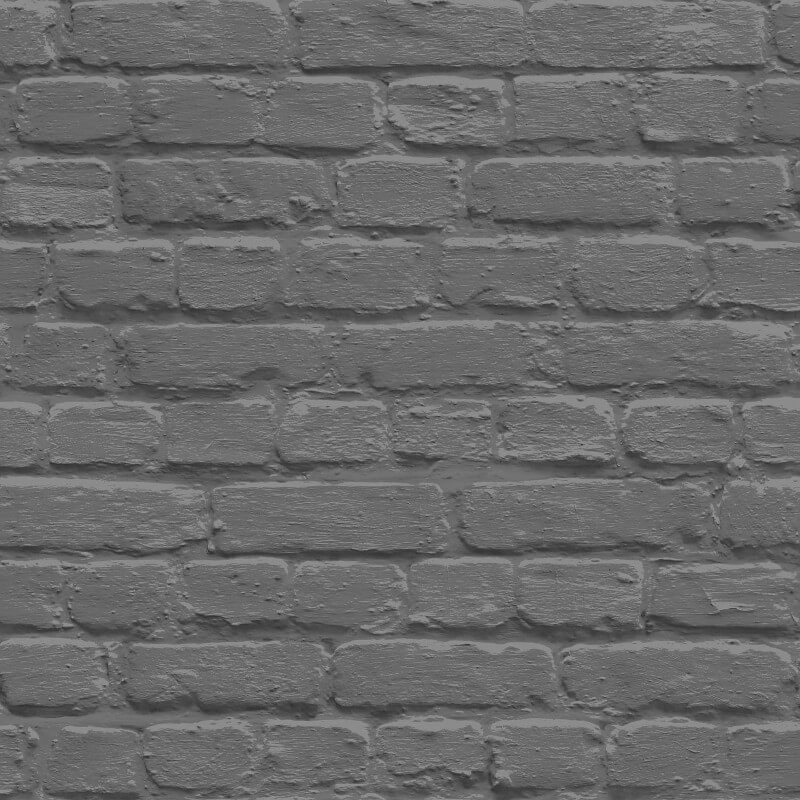 Muriva Painted Brick Shiny Black Wallpaper - L22629