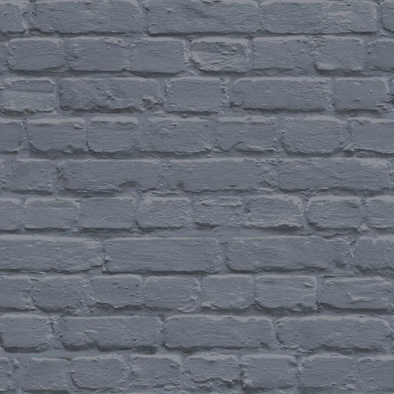 Muriva Painted Brick Shiny Blue Wallpaper - L22601