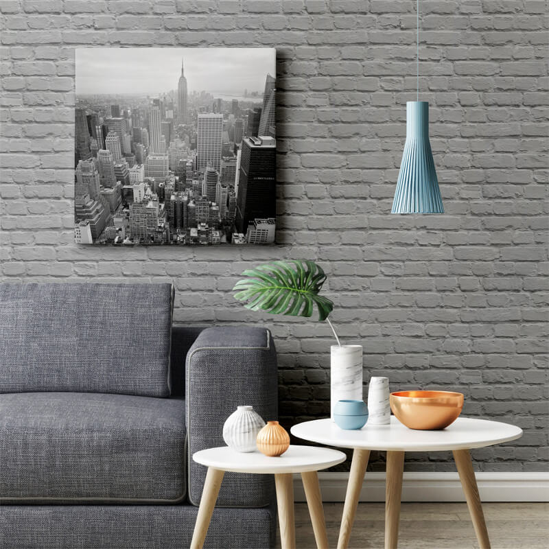 Brick Wallpaper Grey Living Room