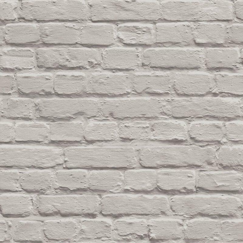 Muriva Painted Brick Shiny Taupe Wallpaper - L22607