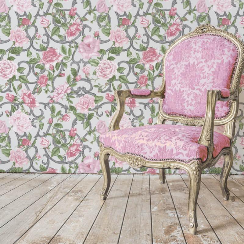 Muriva Rose Trellis Pink/Grey Wallpaper - 135504
