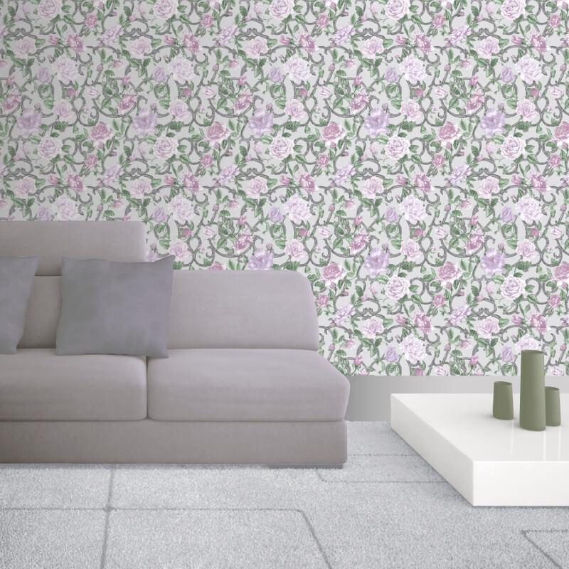 Muriva Rose Trellis Purple Wallpaper - 135503