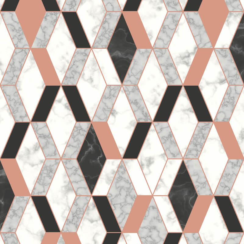 Muriva Runa Marble Tile Rose Gold Metallic Wallpaper - L63805
