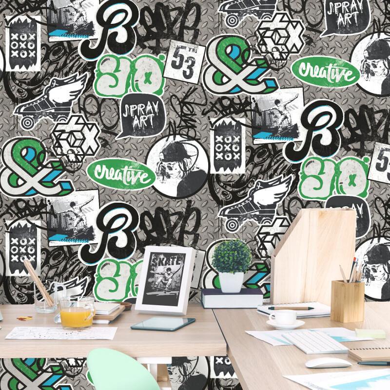 Muriva Scrap Metal Green Wallpaper - L15821