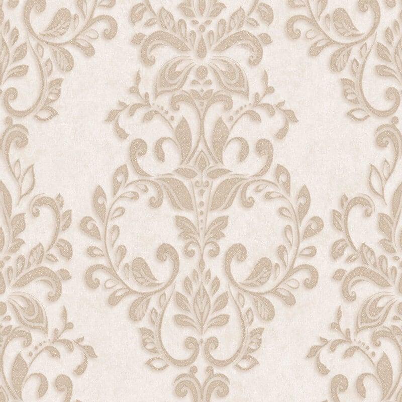Muriva Serafina Damask Glitter Wallpaper in Soft Gold - 701308