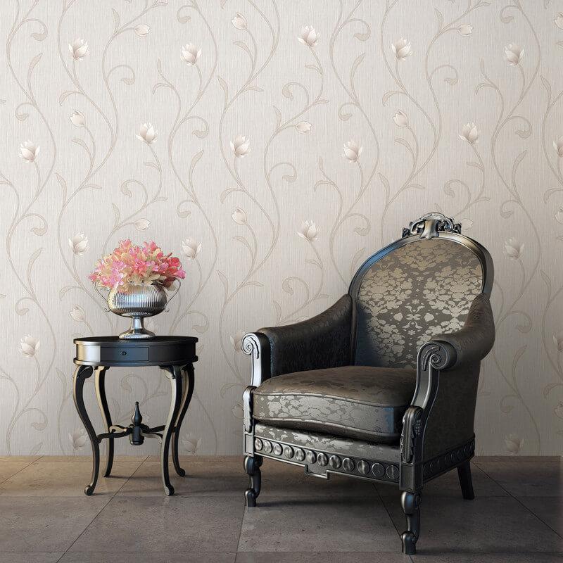 Muriva Serafina Floral Trail Glitter Wallpaper in Bone - 701326