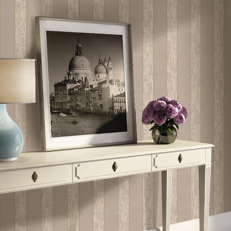 Muriva Seren Stripe Brown Wallpaper - 20525