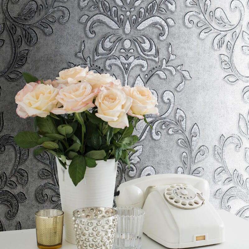 Muriva Serena Damask Steel Metallic Wallpaper - 701450