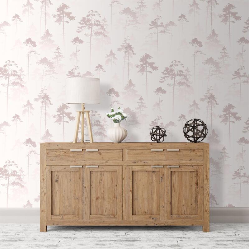 Muriva Sherwood Tree Misty Rose Wallpaper - 143501