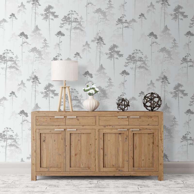 Muriva Sherwood Tree Silver Wallpaper - 143503