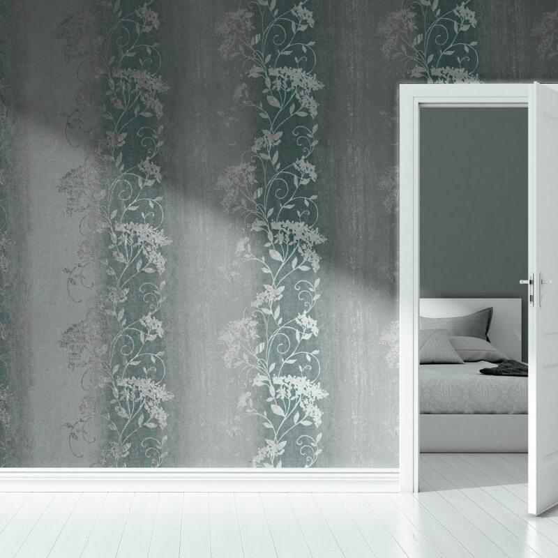 Muriva Sienna Trail Duck Egg Foil Metallic Wallpaper - 701584