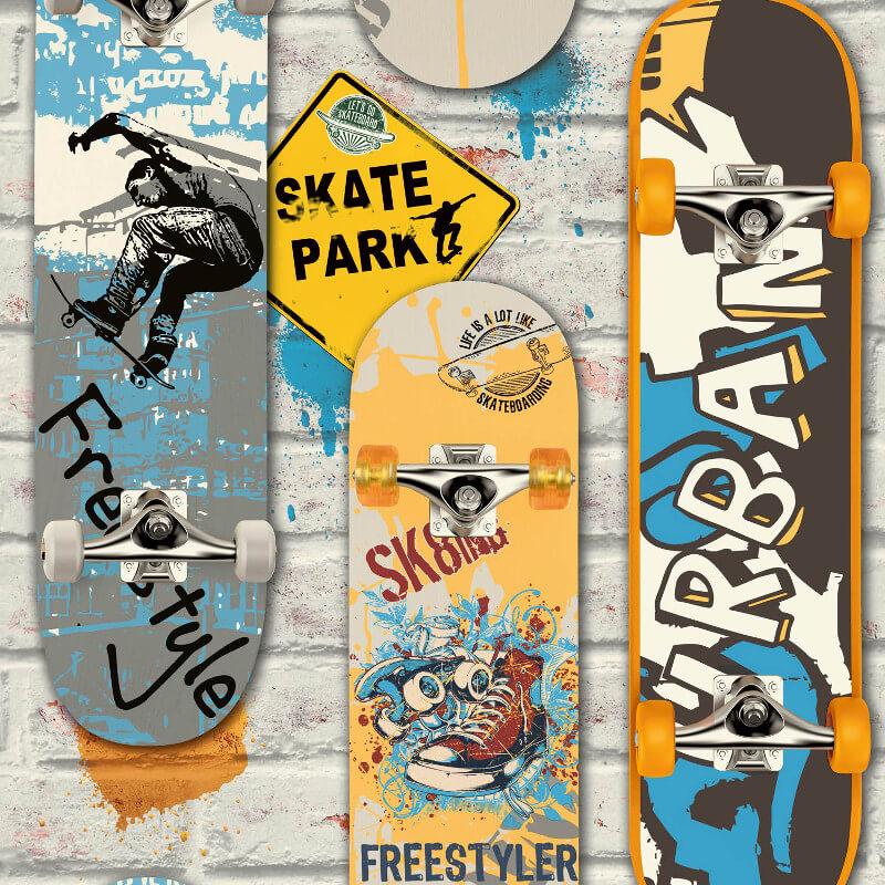 Muriva Skateboards Multi Wallpaper - L29505