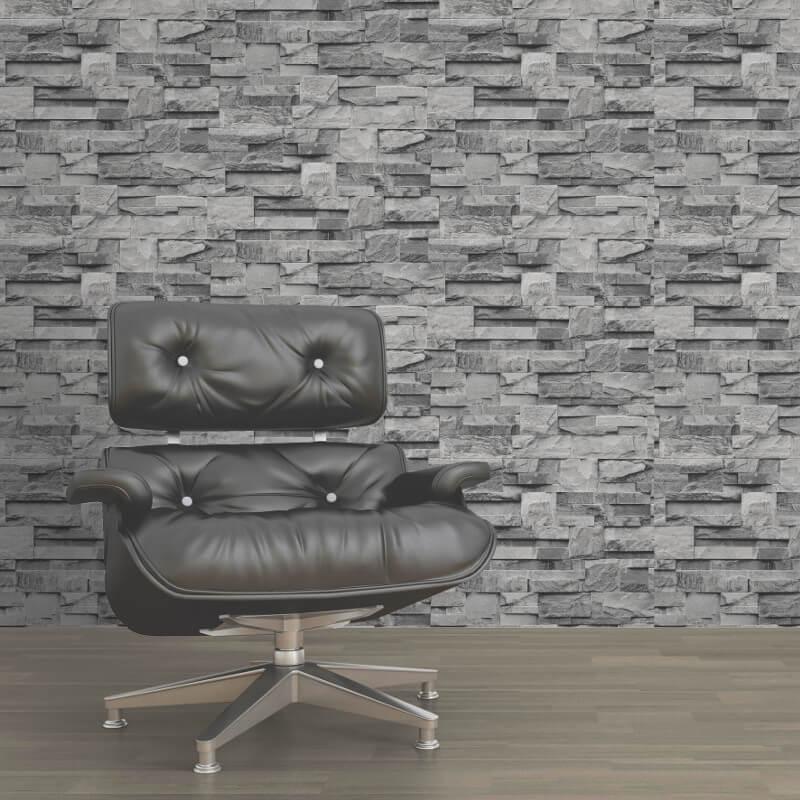 Muriva Stone Brick Effect Grey Wallpaper  - J27409