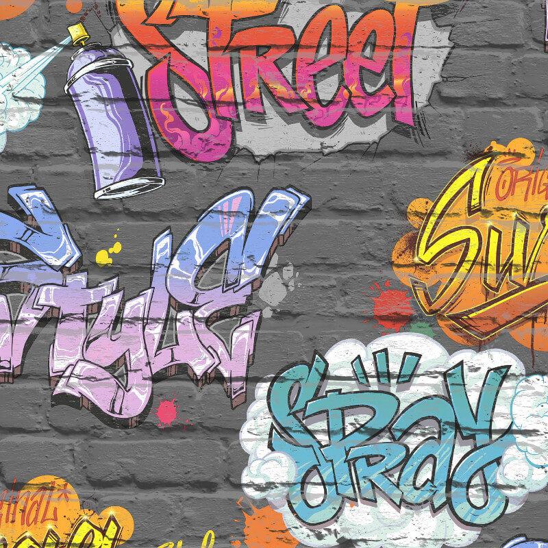 Muriva Street Style Graffiti Black Wallpaper - L17901