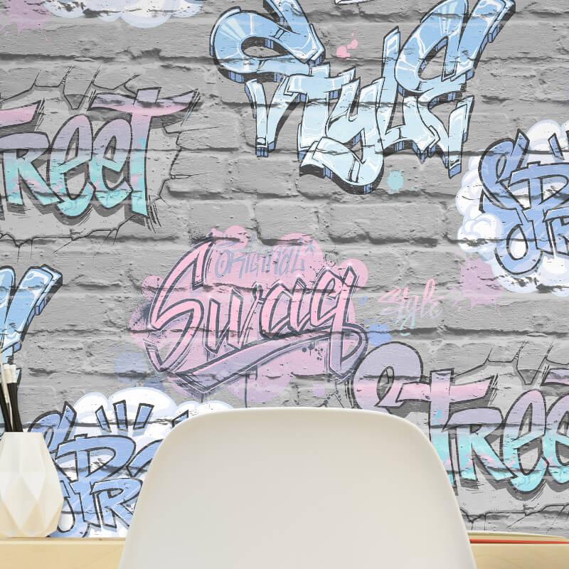 Muriva Street Style Graffiti Grey Wallpaper - L17906
