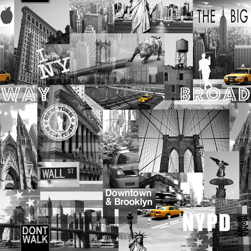 Muriva The Big Apple Black, White & Yellow Wallpaper - 102514