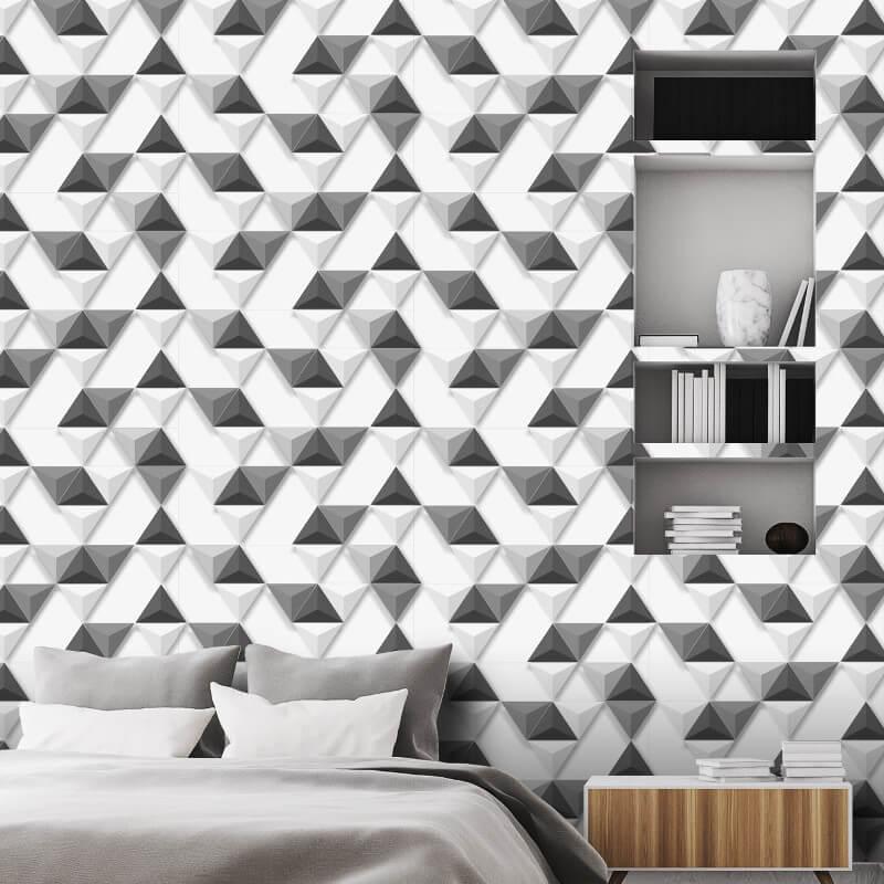 Muriva Triangular Leaf Pattern 3D Grey/Charcoal Wallpaper - L57509