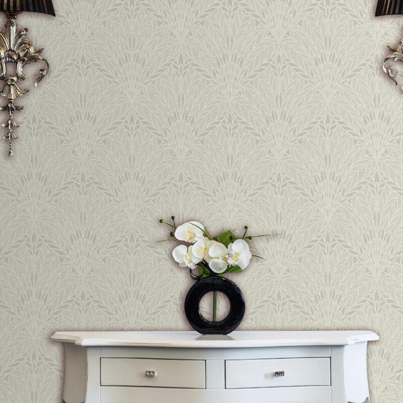 Muriva Viola Geometric Leaf Ivory Glitter Wallpaper - L54807