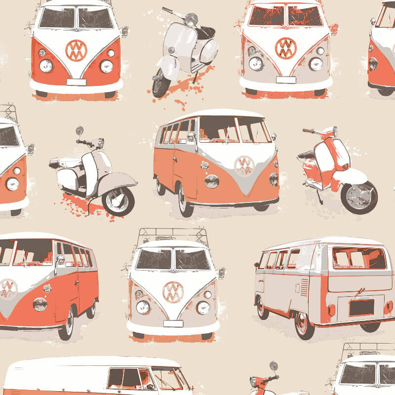 Muriva VW Camper Vans And Scooters Orange Wallpaper