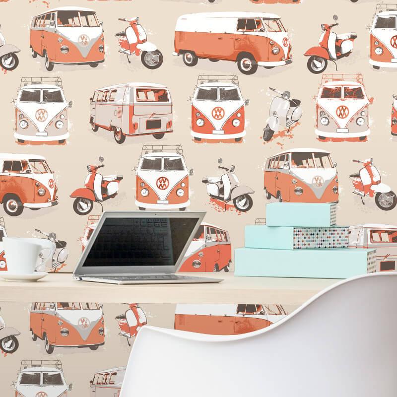 Muriva VW Camper Vans/Scooters Orange Wallpaper - J05915