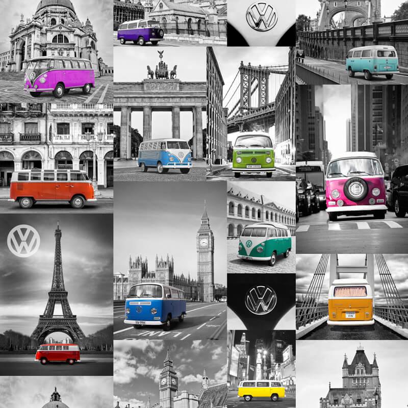 Muriva VW City Campers Grey/Multi Wallpaper - 102571