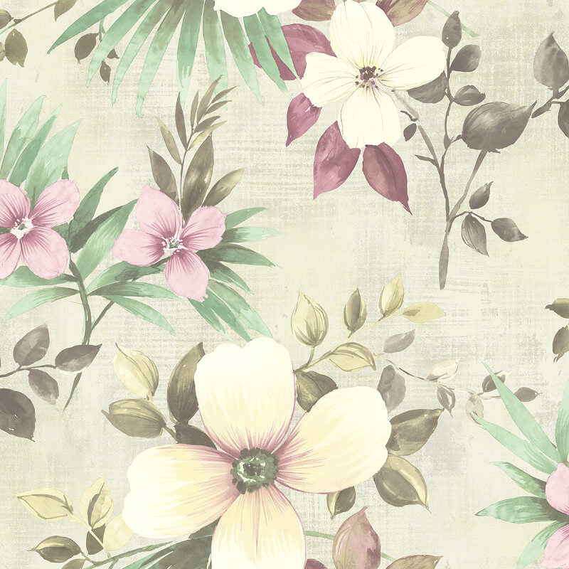 Nina hancock large floral dusty pink wallpaper nh10209 for Dusty pink wall